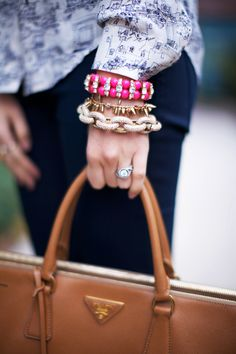 chains, spikes & pink bauble arm candy