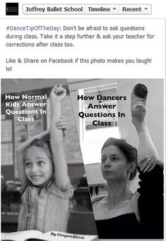OMG, Joffrey Ballet School NYC reposted my dance meme on their facebook page!!! So awesome!!!