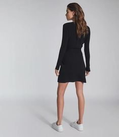 Emily Black Knitted Mini Dress With Zip Detail – REISS Black 7, Black Knit, Iconic Dresses, Reiss, S Models, Dress Collection, Work Wear, Dresses For Work, Zip