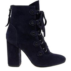 Splendid Women's Rosa Suede Booties ($158) ❤ liked on Polyvore featuring shoes, boots, ankle booties, navy, block heel booties, black suede boots, lace up booties, black lace up boots and suede lace up boots