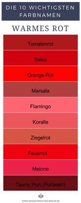 Farbnamen für 10 warme Rottöne: Tomatenrot, Salsa, Orange-Rot, Marsala, Flamingo, Koralle, Ziegelrot, Feuerrot, Melone, Tawny Port