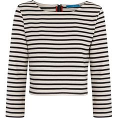 alice and olivia Striped Cropped Cotton Top (3 085 ZAR) ❤ liked on Polyvore featuring tops, shirts, crop tops, long sleeves, black and white, black and white stripe shirt, striped shirt, striped long sleeve shirt, zipper crop top and striped crop top