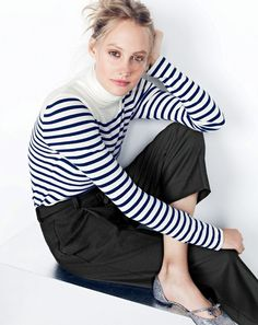 J.Crew women's striped turtleneck, cropped wide-leg pant and Sloan glitter d'Orsay flats with mini bow. To pre-order, call 800 261 7422 or email verypersonalstylist@jcrew.com.