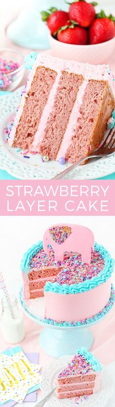 Layer Cake Strawberry Layer Cake full of fresh strawberries for flavor! Perfect for the strawberry lover!Strawberry Layer Cake full of fresh strawberries for flavor! Perfect for the strawberry lover! Layer Cake Recipes, Dessert Recipes, Party Recipes, Baking Recipes, Healthy Recipes, Cupcakes, Cupcake Cakes, Strawberry Layer Cakes, Strawberry Frosting