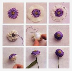 How to make a flower with ribbon embroidery