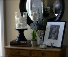 Vignette for a little sideboard/ mix round and square, small and big...and, of course, a touch of nature