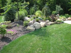 This berm creates a line of separation and area of interest for this yard.  Filling it with perennials, shrubs and trees of various colors and heights will make this an attractive addition to this home.