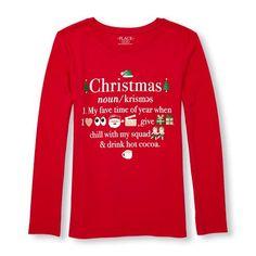 ea031762 Girls Long Sleeve Glitter 'Christmas' Definition Emoji Graphic Tee - Red T- Shirt