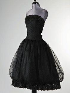 Givenchy black point d'espirit ball gown 1956