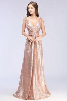Rose Gold Sequin V Neck 2018 Bridesmaid Dress. Gold DressProm  DressesBridesmaid ... 2dc57460e64b