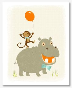 hippo & monkey with orange balloon