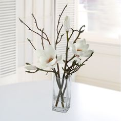 Found it at Wayfair - Tulip Magnolia in Square Glass Vase