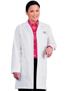 Style Code: (ME-6150)  This women's lab coat has 4 Pockets - 1 Inside Pocket, Deep Front Pockets, Hand Access Slits, Pleated Back and Sewn Down Back Belt. It has 65% Polyester/35% Cotton Performance Poplin with Soil Release.