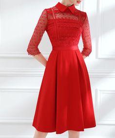 Red lace spread collar pleated dress Sale - U-Zhi Sale