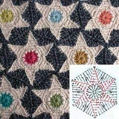 Crochet Me Lovely - Star Hexagon pattern by Atty van Norel Crochet Stars, Crochet Quilt, Crochet Blocks, Crochet Home, Crochet Motif, Free Crochet, Crochet Stitches, Crochet Patterns, Hexagon Pattern