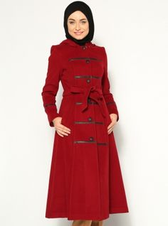 Button Wool Textured Coat - Maroon - YAgMUR