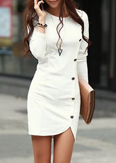 Enchanting Long Sleeve White Sheath Dress with Button | Rosewe.com