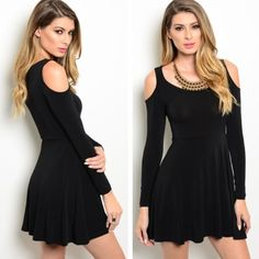Black dress *only 2 left* Only size left is medium. Fabric content: 60% COTTON 35% POLYESTER 5% SPANDEX. Model is wearing the exact product. Dresses