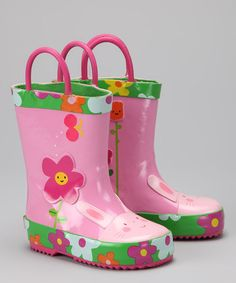 This Pink Daisy Rain Boot is perfect! #zulilyfinds