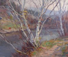Rare & Superb Large Birches, Vermont Oil Painting Signed By Artist Emile A. Gruppe 1896-1978 For Sale | Antiques.com | Classifieds