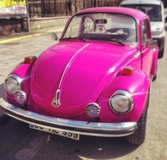 Beautiful pink vintage car