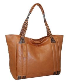 This Cognac Large Whip It Leather Tote is perfect! #zulilyfinds