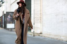 Long oversized camel coat // NYFW street style