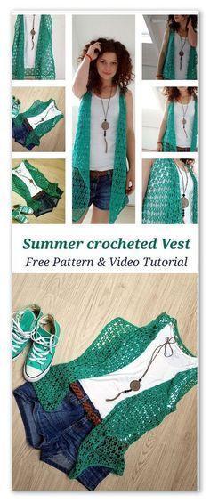 Summer crocheted vest: FREE pattern & Video tutorial Source by jessgalanty Pull Crochet, Gilet Crochet, Crochet Vest Pattern, Crochet Cardigan, Love Crochet, Crochet Scarves, Crochet For Kids, Crochet Shawl, Crochet Clothes