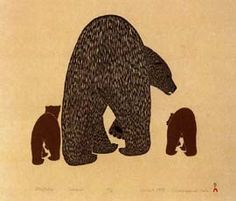Attiqtaliq (Bear with Cubs), by Kananginak Pootoogook (Inuit artist), Cape Dorset -- Stonecut and stencil Arte Inuit, Inuit Art, Native Art, Native American Art, American Wallpaper, Inuit People, Cottage Art, Canadian Art, Bear Art
