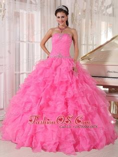 Inexpensive Rose Pink Quinceanera Dress Strapless Organza Beading Ball Gown  http://www.fashionos.com