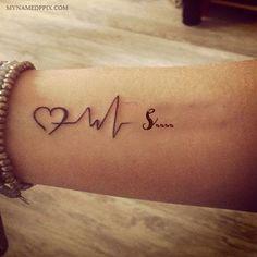 Write Name On Love Heartbeat Tattoo Image Heartbeat Tattoo With Name, Name Tattoo On Hand, Small Name Tattoo, Heartbeat Tattoo Design, Small Neck Tattoos, Henna Tattoo Hand, Name Tattoos For Girls, Couple Name Tattoos, Bird Tattoos For Women