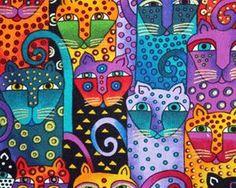 Gatos - Laurel Burch was wonderful! Laurel Burch, Cat Colors, Bright Colors, Colours, Arte Pop, Art Graphique, Needlepoint Canvases, Art Plastique, Elementary Art