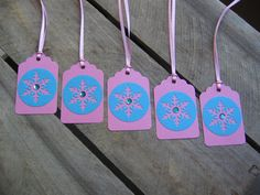 Turquoise and Pink Gift Tags Set of 5 Turquoise by SnowNoseCrafts