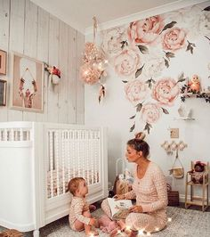 I love the rose wallpaper for a little girl's room or nursery. How sweet. | #fiolajewelry #Nursery #NurseryIdeas #NurseryDecor #NurseryOrganization #BabyRoom #BabyCribs #BabyAccessories #BabyOrganization #BabyOrganizationIdeas #BabyOrganizationForSmallSpaces #BabyOrganizationIdeasForSmallSpaces