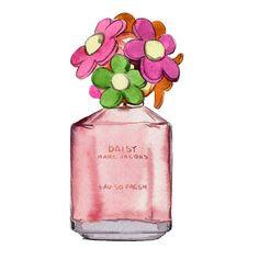 Marc Jacobs, Daisy Eau So Fresh Perfume Bottle, Watercolor Fashion Illustration, Art Print. $10.00