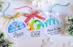 Watercolored Christmas Cuts Tags by Kay Miller for Papertrey Ink (October 2016)