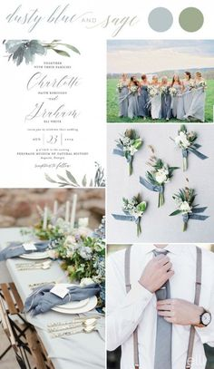 dusty blue and sage fall wedding colors wedding inspiration #SageGreen #AndFrenchBlueWedding