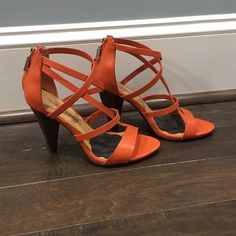 """Rebecca Minkoff Strappy Heels. Rebecca Minkoff Strappy Earthy Orange Sandals. Perfect Condition. Only worn a few times. Cute wooden heel. Approximately 3""""-3.25"""" height. Rebecca Minkoff Shoes Heels"""