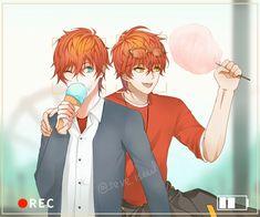 Saeran and Seven Messenger Games, Mystic Messenger Game, Mystic Messenger Fanart, Anime Figures, Anime Characters, Hello Darkness Smile Friend, Luciel Choi, Saeran Choi, Mini Comic