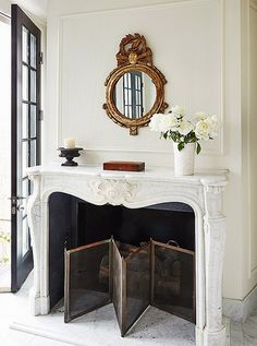 Budget Friendly Living-Dining Room Combo Fabulous home and interior design by Darryl Carter. Love his simply, elegant, classical style. Gorgeous fireplace mantel and surround. Fireplace Design, Fireplace Mantels, Mantle, White Fireplace, White Mantel, Fireplace Stone, Home Interior Design, Interior Decorating, Decorating Ideas