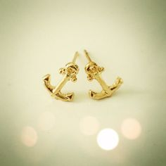 Gold anchor stud earrings  by dollieLINKS on Etsy, $7.99