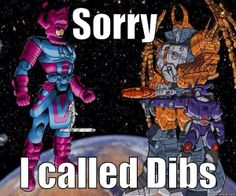 When world eaters collide. Who get's to eat the Earth?<<<<<< galactus shall bow down to UNICRON!!!!!!!!! Of course PRIMUS will stop both of them but still galactus won't win. -Autobottwister