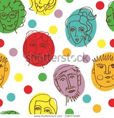 Funny Faces On Circles Repeating Pattern Vector Pattern, Pattern Design, Line Illustration, Repeating Patterns, Drawing People, Funny Faces, Portraits, Surface Design, Your Design
