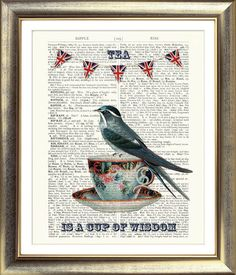 ART PRINT ON ORIGINAL ANTIQUE BOOK PAGE Tea Cup Bird Bunting Vintage Dictionary | eBay