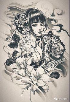Geisha Tattoo Design, Buddha Tattoo Design, Buddha Tattoos, Japanese Girl Tattoo, Japanese Tattoo Designs, Cool Tattoos For Girls, Tattoo Designs For Girls, Tatoo Art, Tattoo Drawings