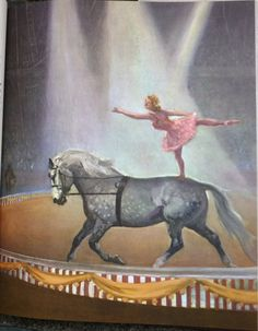 Charming Vintage Children's Print of a Horse  Ballerina Circus Performance, illustration by American artist Wesley Dennis. At AngelGrace on Etsy.