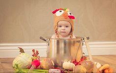 Baby's first Thanksgiving photo shoot. #turkey #pot #dinner #celebrate #photography #idea