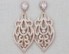 Rose Gold Art Deco earrings Rose Gold Chandelier by treasures570