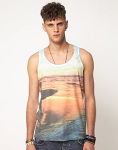 River Island Vest with Surf Print