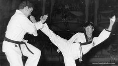 Chuck Norris kick high during a karate tournament in the sixties. #karate #chucknorris